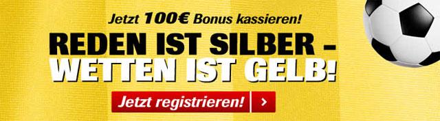 Neukunden erhalten einen 100% bis 100 € Bonus (Quelle: Interwetten)