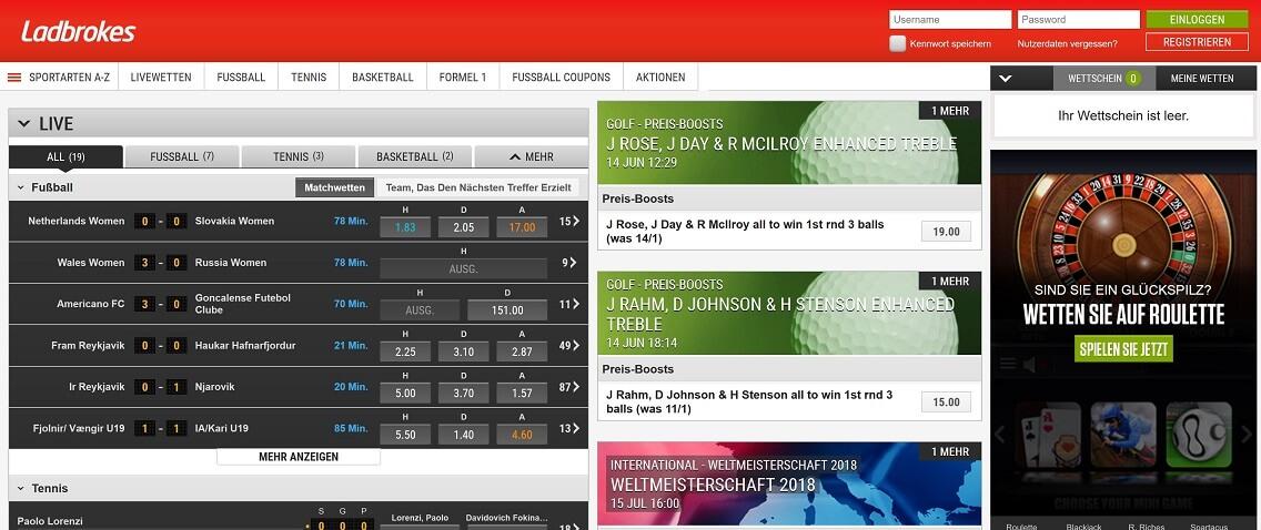 Ladbrokes Website Übersicht