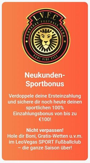 LeoVegas Sport Bonus Ersteinzahlung