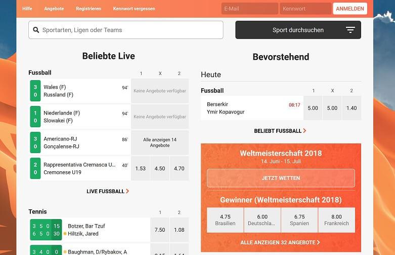 LeoVegas Sport Website Übersicht