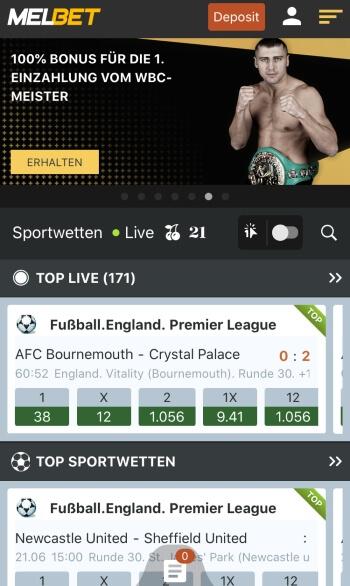 MelBet Sportwetten Erfahrungen – Mobile App