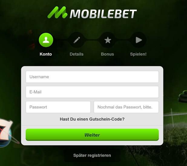 Mobilebet Bonus Registrierung