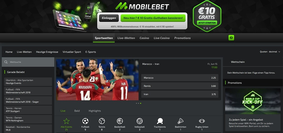 Mobilebet Website Übersicht