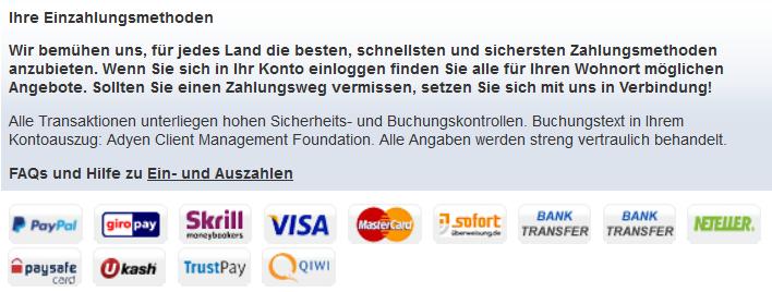 mybet stellt mobil die gleichen Zahlungsmethoden wie über die Webseite bereit (Quelle: mybet)