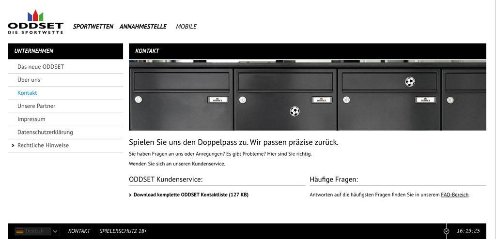 Kontaktseite auf der Webseite von Oddset (Quelle: Oddset)