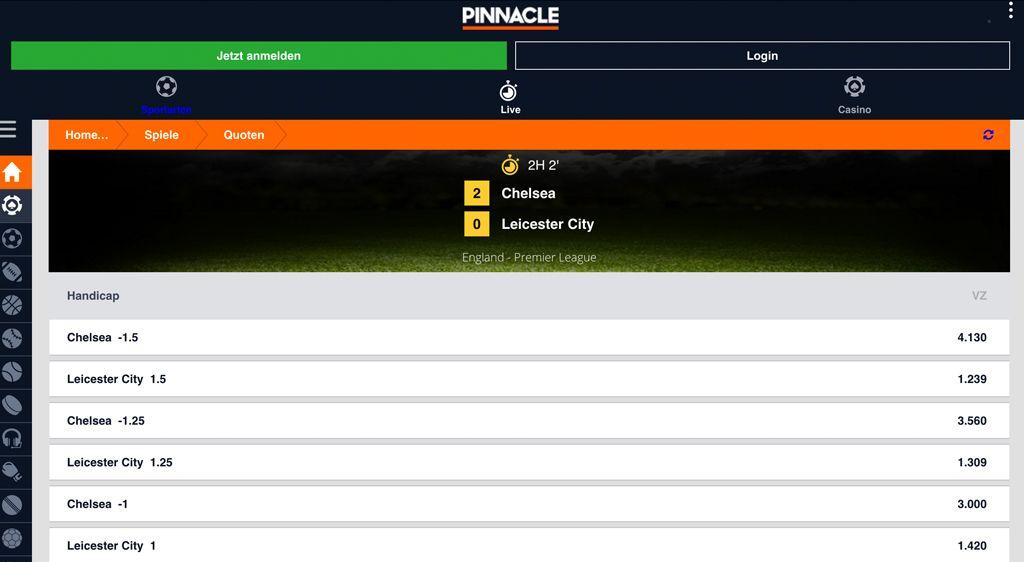 Auch Live-Wetten sind in der mobilen Version bei Pinnacle möglich (Quelle: Pinnacle)