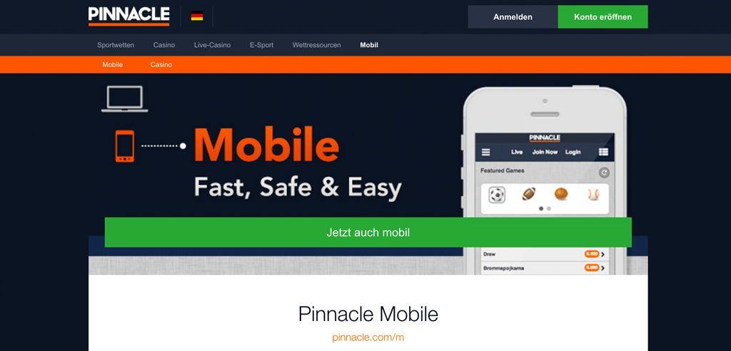 Die mobile Version von Pinnacle sieht auf allen Endgeräten gleich aus (Quelle: Pinnacle)