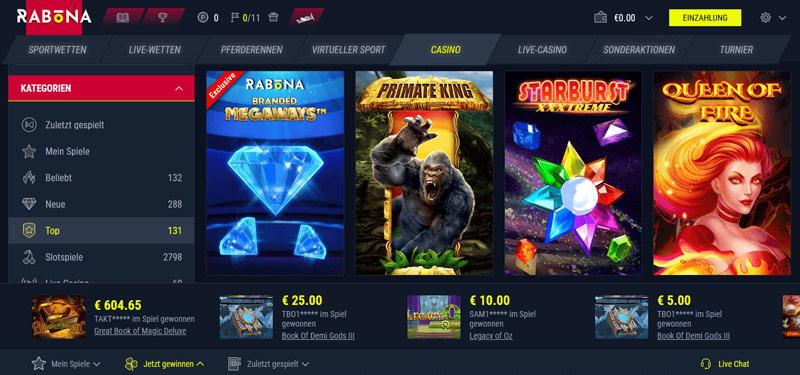 Casinoangebot von Rabona