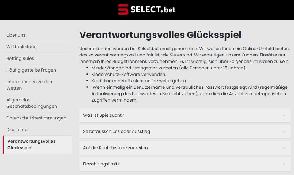 Spielerschutz von Select.bet
