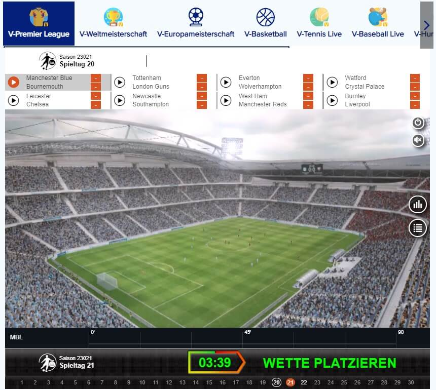 Virtuelle Wetten bei Sportaza