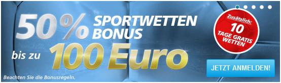 Aktuell erhalten Neukunden einen 50% bis zu 100 € Bonus (Quelle: Sportingbet)