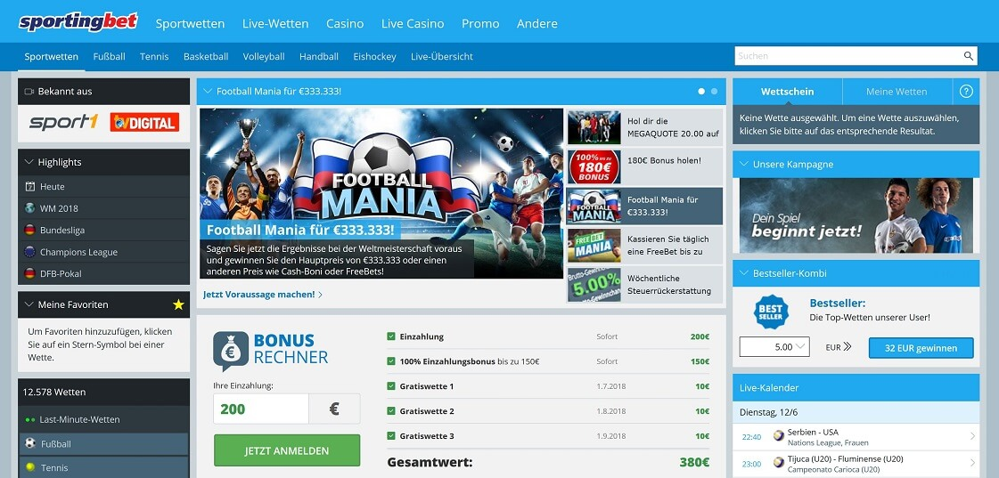 Sportingbet Website Übersicht