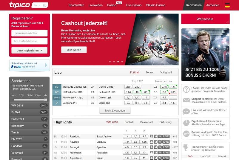 Tipico Website Übersicht