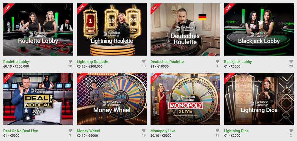 Ein Live-Casino bietet Unibet auch an (Quelle: Unibet)