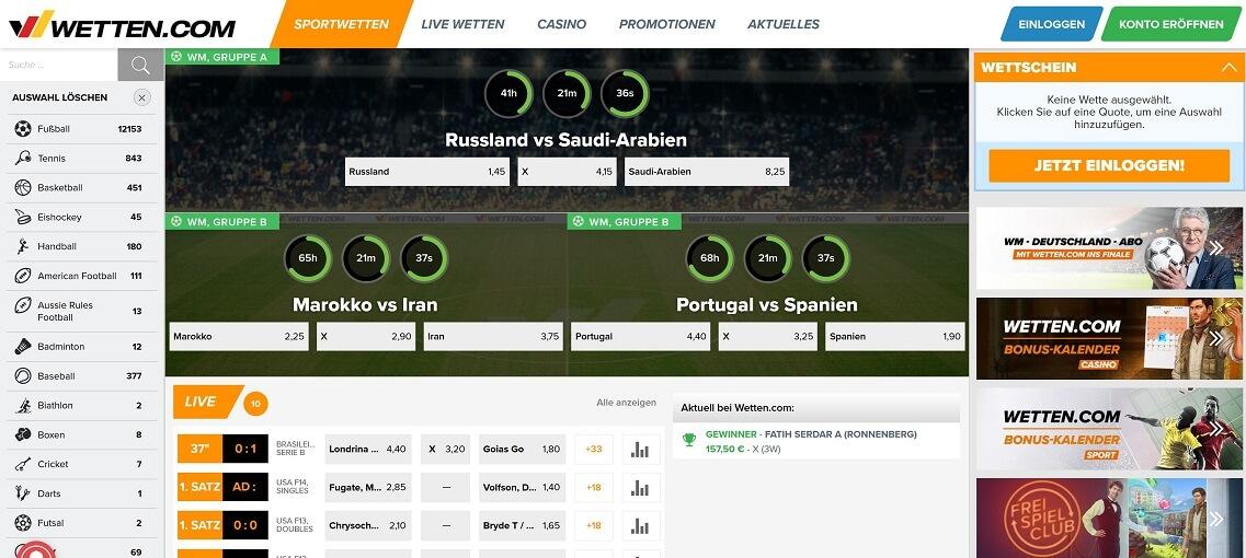 Wetten.com Website Übersicht