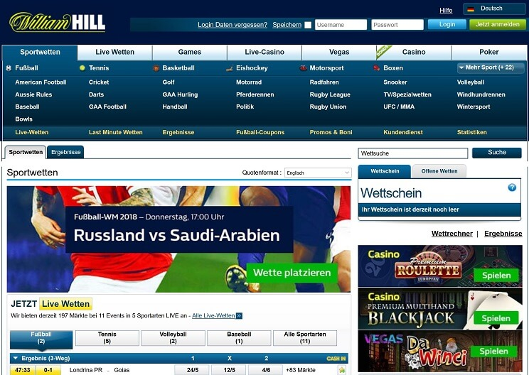 William Hill Website Übersicht