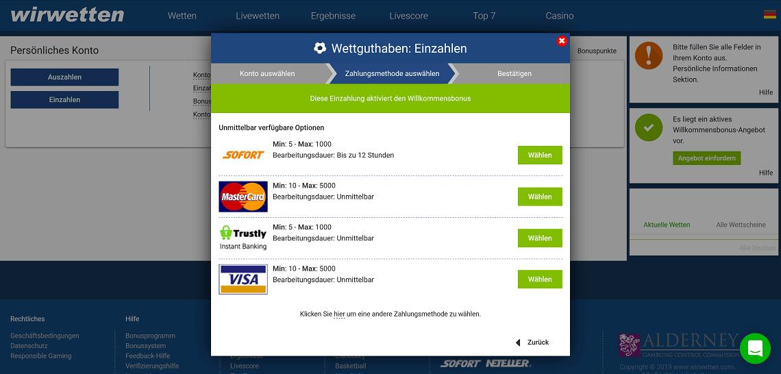 WirWetten Zahlungsmethoden